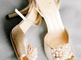 silver reptile skin peep toe wedding shoes with statement embellishments are a great glam option for a summer bride