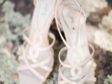 neutral strappy lace up high heels will match many bridal looks and will be a nice idea for a hot day