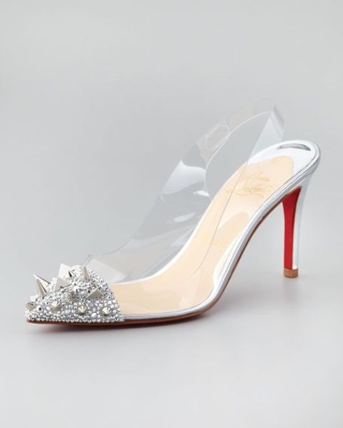 edgy acrylic slingbacks with embellished and spiked toes will give your bridal outfit a very trendy feel