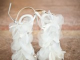 ethereal white fabric flower wedding shoes will make your bridal look very special and very romantic at the same time