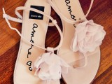 flat neutral wedding sandals with pink fabric flowers and straps are a veyr comfy solution with a cute girlish touch