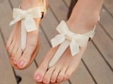 simple and elegant neutral wedding sandals with bows will fit many bridal styles easily and add chic