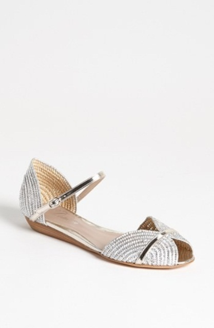 silver crocheted peep toe wedding sandals with metallic straps will make your wedding look shiny