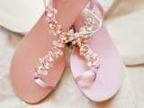 chic fully embellished flat wedding sandals with lots of rhinestones look very girlish and very cute
