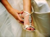 neutral strappy embellished heeled sandals look chic, elegant and stylish, they will match many bridal looks