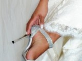 shiny silver fully embellished ankle strap heels are amazing for adding a touch of glam to a summer bridal look