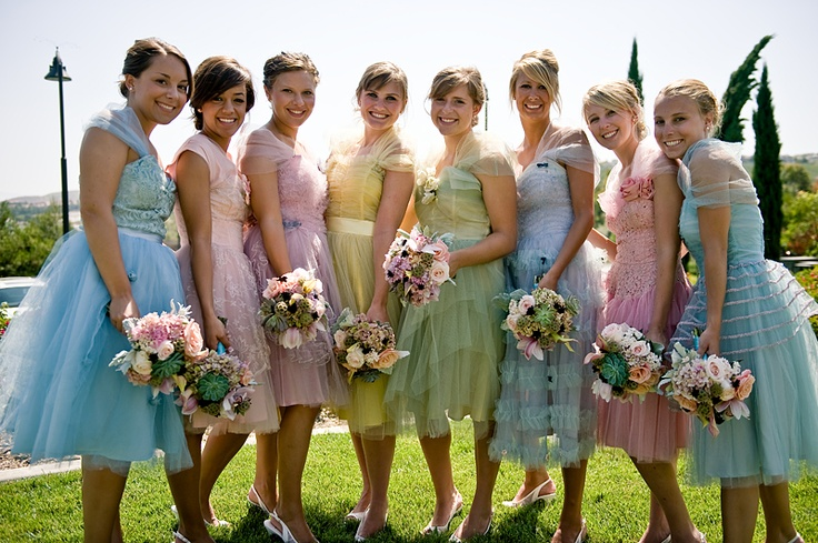 Picture Of Chic Vintage Bridesmaids Dresses