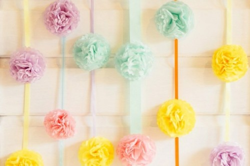 Colorful And Easy DIY Pom Pom Wedding Backdrop