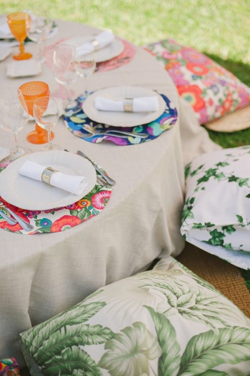 Colorful Backyard Picnic And Barbecue Wedding