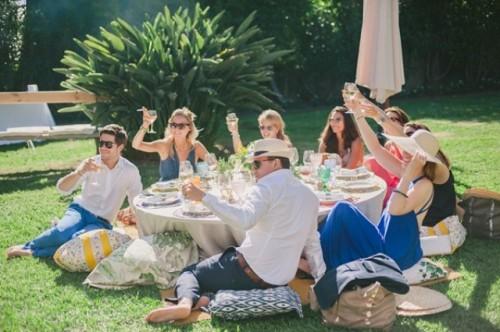 Colorful Backyard Picnic And Barbecue Wedding