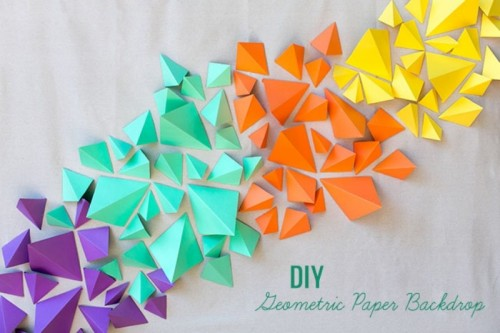 Colorful DIY Geometric Paper Backdrop