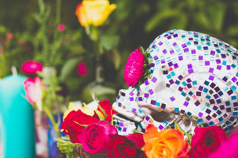 Picture Of colorful diy mosaic skull wedding centerpiece  10