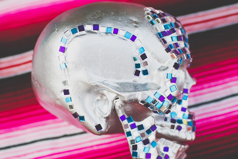 Picture Of colorful diy mosaic skull wedding centerpiece  6