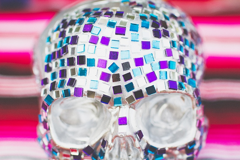 Picture Of colorful diy mosaic skull wedding centerpiece  7