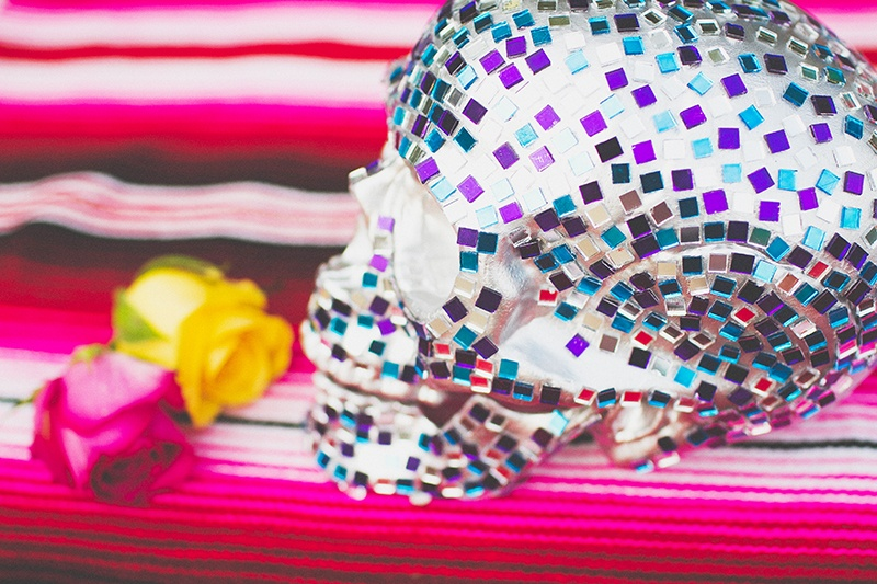 Picture Of colorful diy mosaic skull wedding centerpiece  8