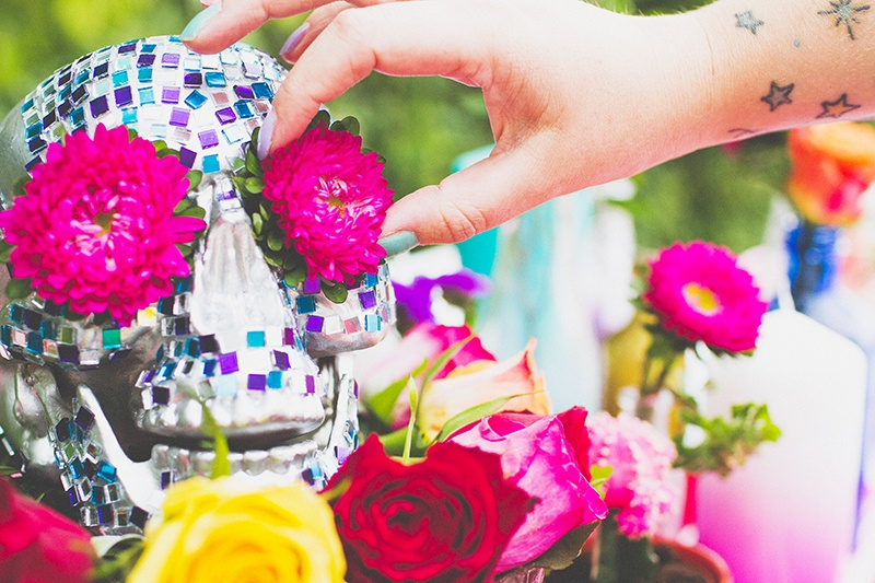 Picture Of colorful diy mosaic skull wedding centerpiece  9