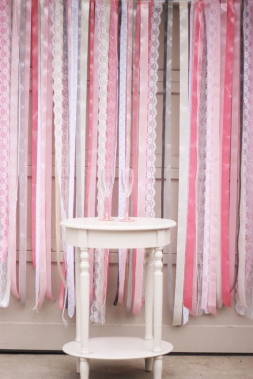 Colorful DIY Ribbon Wedding Ceremony Backdrop