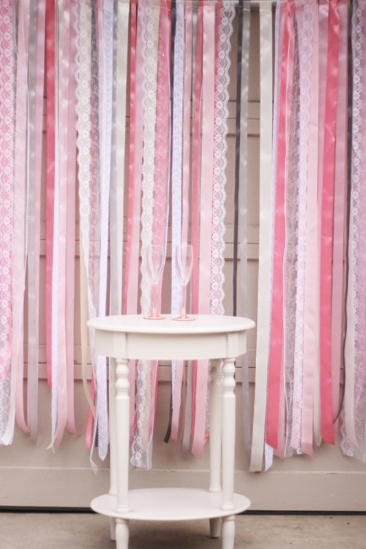 Picture Of colorful diy ribbon wedding ceremony backdrop  1