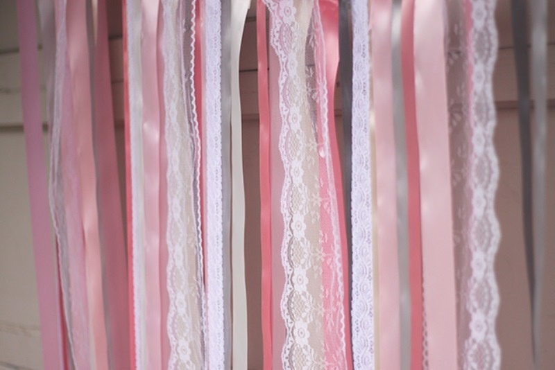 Picture Of colorful diy ribbon wedding ceremony backdrop  3