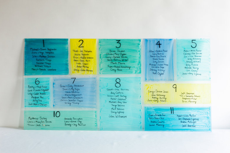 Picture Of colorful diy stained glass seating chart  1