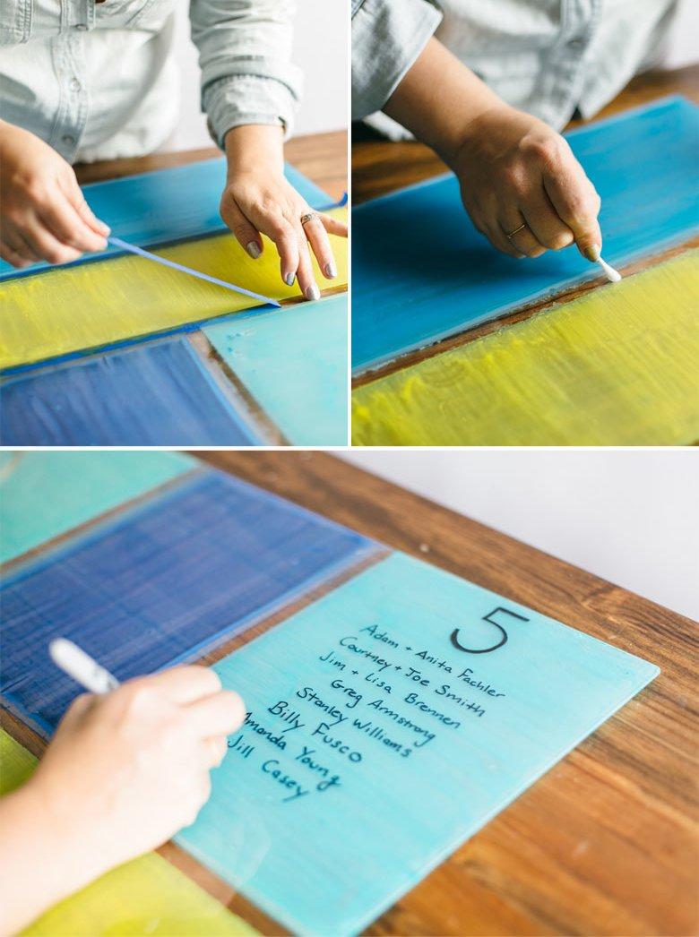 Picture Of colorful diy stained glass seating chart  5