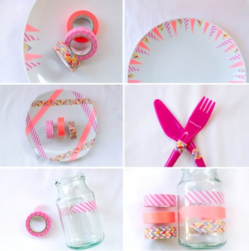 Colorful Diy Washi Tape Wedding Place Setting