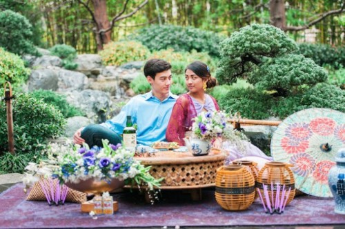 Colorful Japanese-Inspired Tea Ceremony Engagement Shoot