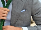 a light grey suit, a white shirt and a bright green tie look very refreshing and vivacious
