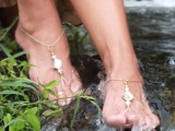 simple gold thread barefoot wedding sandals with beads and coins are amazing for a beach boho bride