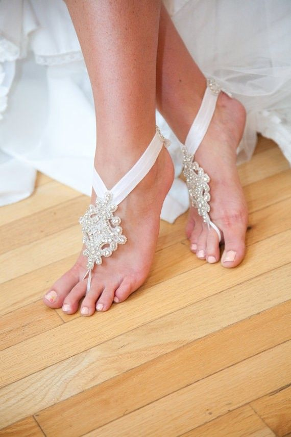 fully embellished barefoot beach wedding sandals are amazing to highlight your bridal look with a touch of glam