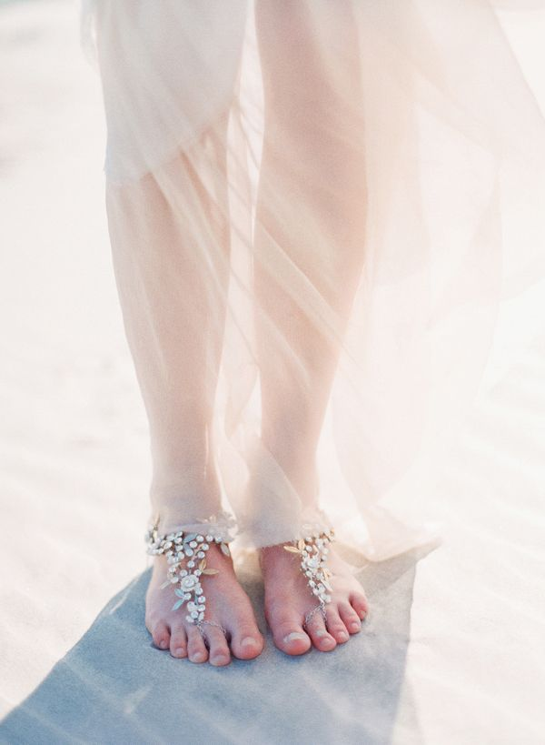 fully embellished rhinestone flower barefoot wedding sandals will give a special touch to your beach bridal look