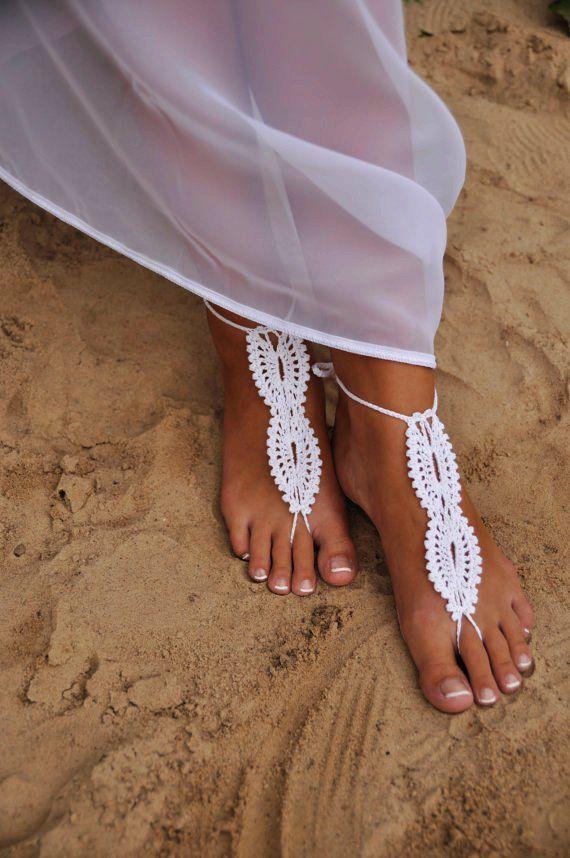 macrame barefoot wedding sandals are a nice option for a boho beach bride
