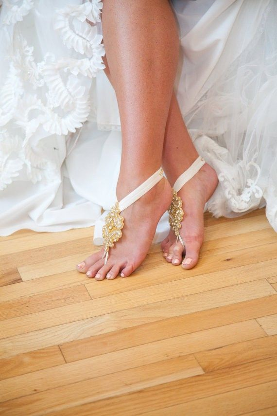 neutral and gold embellished barefoot sandals with a modern feel look bold, cute and chic