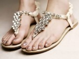 heavily embellished flat wedding sandals are amazing to add a shiny and glam touch to the look
