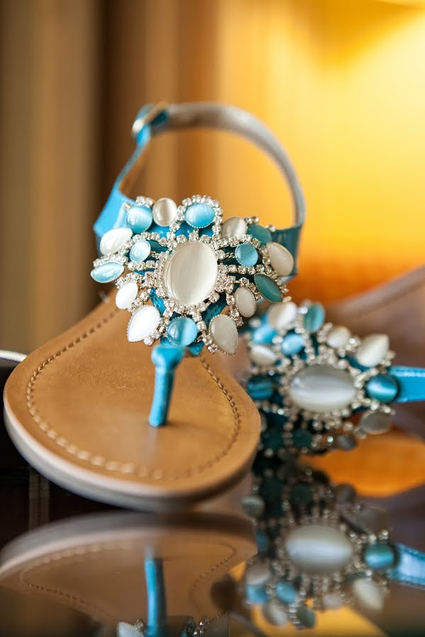heavily embellished blue and white rhinestone sandals are amazing for rocking them at the beach