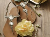 flat strappy embellished sandals are nice for wearign to a beach wedding