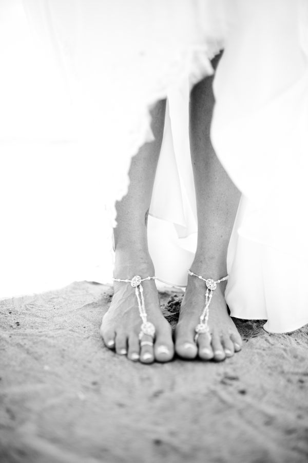 boho beach wedding sandals with beads and mini coins are amazing and you can easily DIY them for your wedding