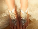 fully embellished barefoot wedding sandals will match a beach or a garden bridal look