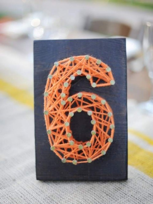Colorful DIY Nail And String Table Numbers