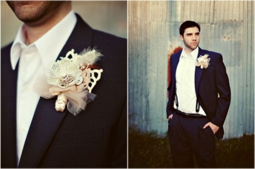 a vintage groom's look with a black suit, a white button down, suspenders and a whimsy boutonniere