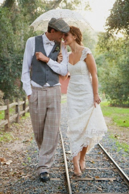 a vintage-inspired groom's look with checked pants, a striped waistcoat and a neutral button down plus a cap