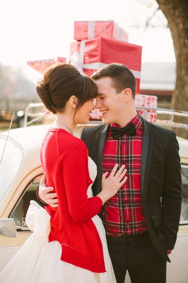 a black tux spruced up with a red plaid shirt is a great idea for a Christmas groom's look