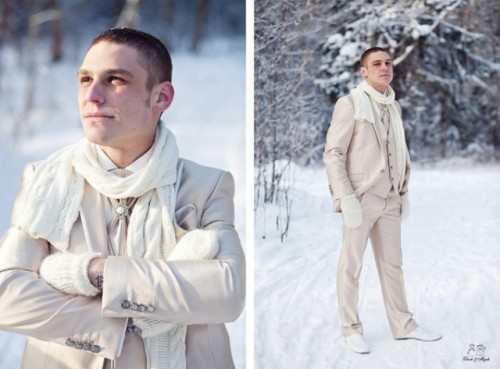 an all-neutral groom's look with a tan three-piece suit, a white button down, a tie, a white scarf and white boots