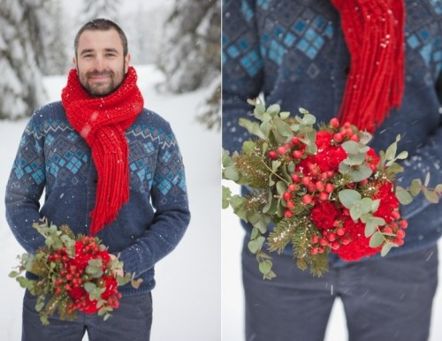 grey pants, a blue printed sweater, a red scarf will compose a cool and chic groom's look