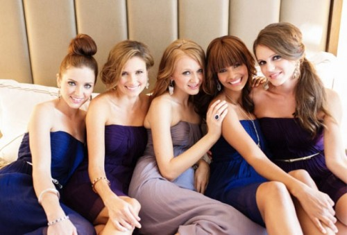 Coordinating But Different Bridesmaid Dresses By Donna Morgan