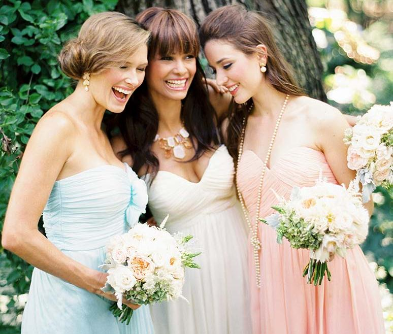 Coordinating But Diffe Bridesmaid Dresses By Donna Morgan