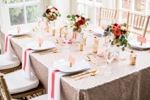 Coral And Gold Glamorous Bridal Soiree At Duke Mansion