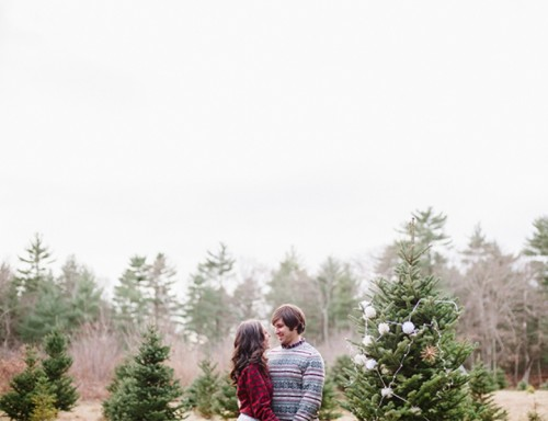 Cozy And Intimate Christmas Tree Farm Love Shoot