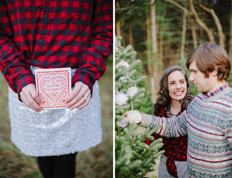 Picture Of cozy and intimate christmas tree farm love shoot  3
