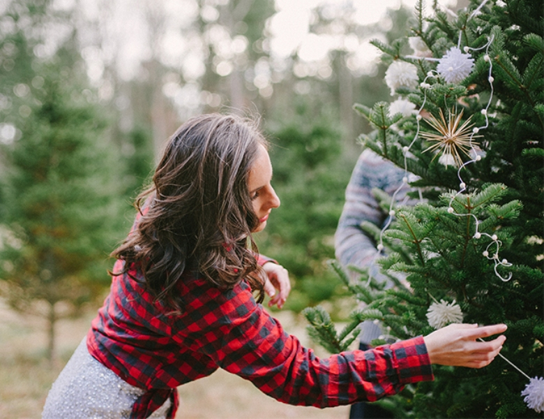 Picture Of cozy and intimate christmas tree farm love shoot  5